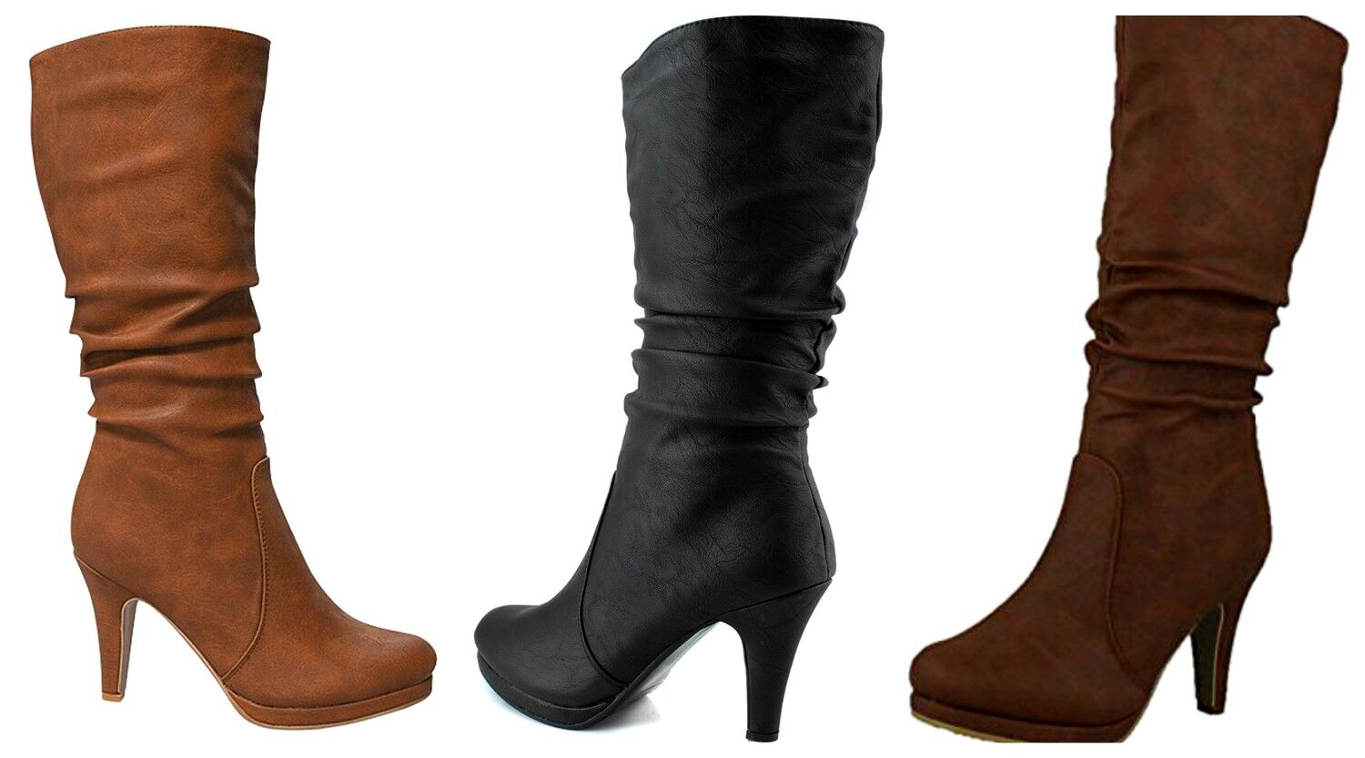 55b5c7c0461f Details about Top Moda Page-43 Womens Fashion Mid Calf Round Toe Slouched  High Heel Boots