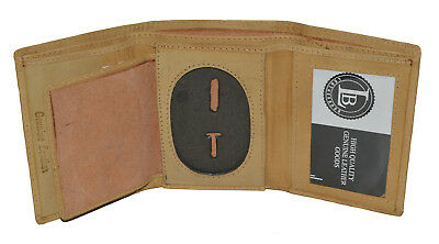 (BADGE ID HOLDER ROUNDED OVAL SHAPE TAN TRIFOLD WALLET NEW LEATHER WALLET)