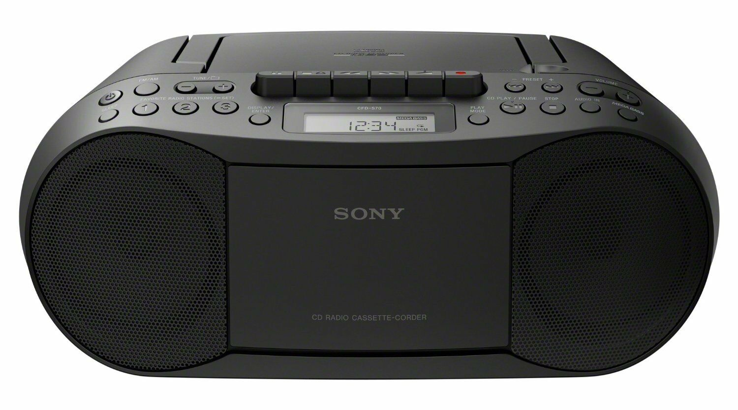 NEW Sony Boombox CDPlayer Radio Stereo Cassette CD CFD-S70 Black