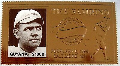 BABE RUTH Stamps MNH Guyana 23KT GOLD Plated Baseball Stamp Yankees Red Sox for sale  Twain Harte