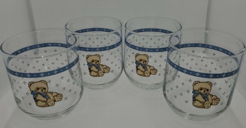 Vintage Tienshan ~ COUNTRY BEAR 10 Oz. Old-Fashioned Glasses- Set of 4~ EUC!