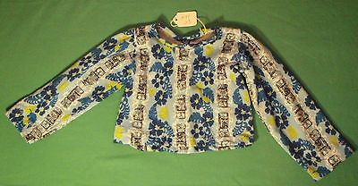 """Blue Long Sleeve Top with Totem Poles & Flowers for 36"""" My Size Barbie MYT03"""