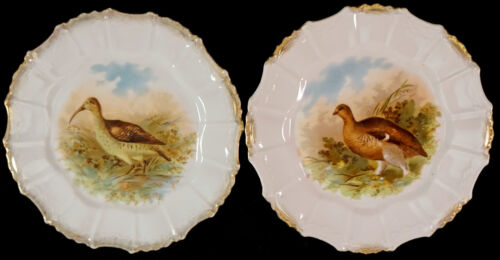 Wild Game Bird Porcelain Plates Set of 2 One SNIPE & One QUAIL