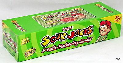 Sour Jacks Original Candy 24 ct Box Assorted Flavors Candies Cherry Lemon Lime - Sour Jacks