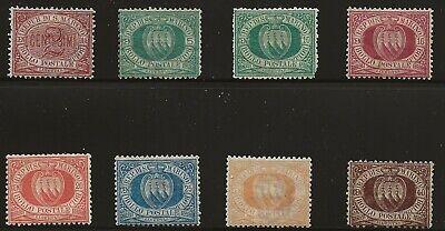 San Marino Scott #3, 6, 8-9, 12, 14, 16 & 18, Singles 1877-99 FVF MH