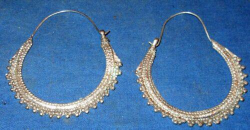 """Earrings Hoop Sawtooth Afghan Kuchi Tribal Alpaca Silver 2 1/2"""""""