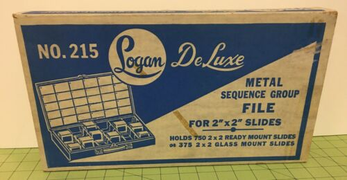 """New Logan No. 215 DeLuxe Metal Sequence Group File for 2"""" x 2"""" Slides Holds 750"""