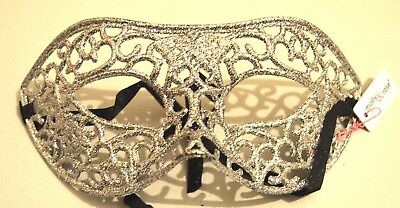 NEW Silver patterned glitter wired look Masquerade Mask Eye Gothic halloween