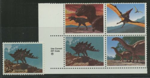 #2425c 29c Dinosaurs Zip Blk/4 Black Omitted Major Error W/ Pse Cert Bv37