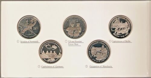 1991 - 1995 RUSSIA 3 ROUBLES PROOF SET of 10 Coins - WWII - SCARCE