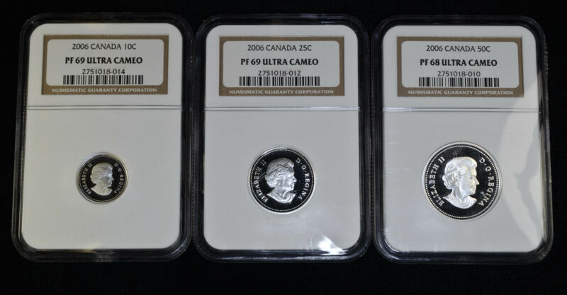Canada 2006 NGC Lot of 3 Coins 10 25 50 Cents PF68 & PF69 UCAM Ultra Cameo