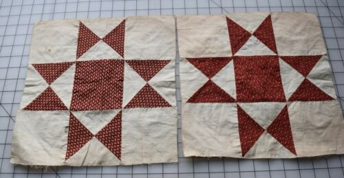8550 2 antique 1860s Variable Star quilt blocks, beautiful madder prints
