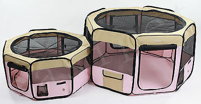 Fabric Pet Playpen Dog Cat Puppy Guinea Pig Play Pen Run New Pink Soft Easipet