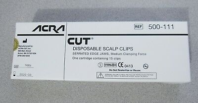 Acra-cut 500-111 Disposable Scalp Clips One Cartridge 15 Clips Exp. 2025