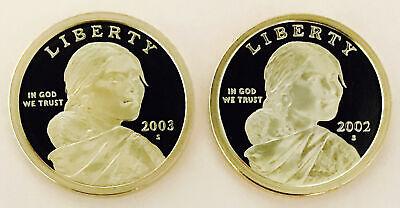 2002-03 S SACAJAWEA PROOF DOLLARS SUPERB GEM BU FLAWLESS DCAM PAIR NR 1013 456 - $12.01