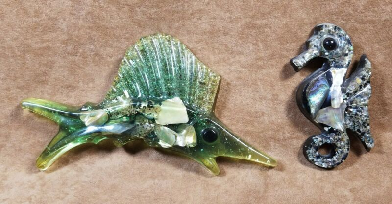 Vintage Lucite Abalone Seahorse & Sailfish Wall Plaques
