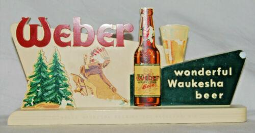 WEBER WAUKESHA BEER ( KOLOPLAK CHALK) BACK BAR ADVERTISING SIGN - WISCONSIN