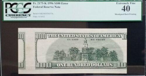 1996 $100 FRN Dallas 《Misaligned Back Printing》PCGS XF-40