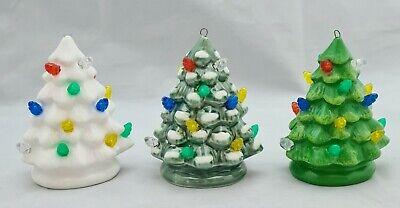 "Christmas Tree Green White Vintage Inspired Light Up Ceramic Ornament Set 3.7"""