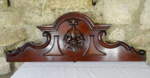 """37"""" Antique French Hand Carved Wood Mahogany Pediment - Flowers Rose  19th"""