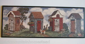 Outhouse Country Bathroom Wall Decor Plaque Primitive Bath Sign Rustic
