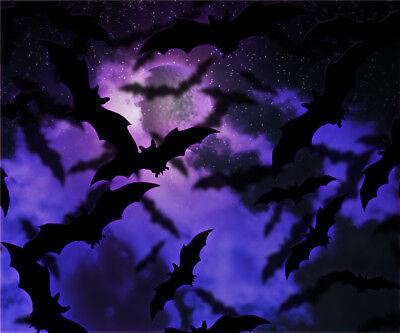 10x10ft Vinyl Studio Backdrop Photography Background Bats Purple Cloud - Purple Halloween Backgrounds