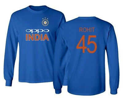 Long Sleeve Cricket - Cricket India Jersey Style Rohit 45 Men's Long Sleeve T-Shirt