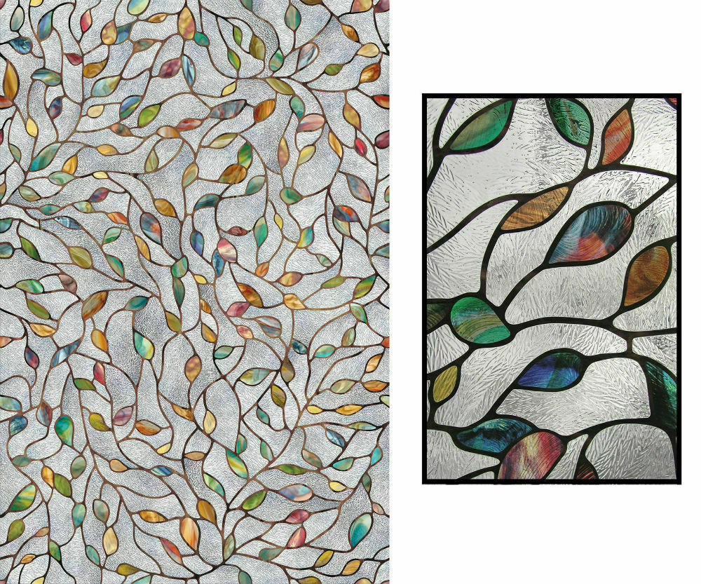 Artscape Window Film Static Cling Stained Glass Look New Lea