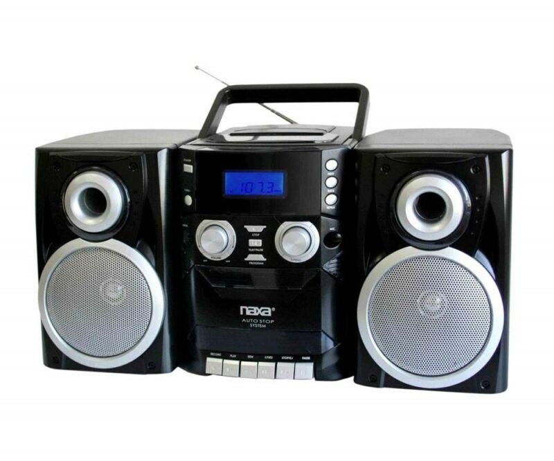 NAXA Electronics NPB-426 Portable CD Player AM/FM Stereo Radio Cassette Recorder