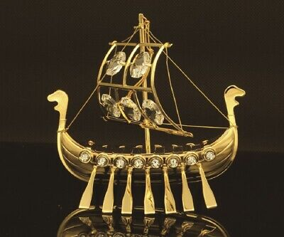 SWAROVSKI CRYSTAL ELEMENT STUDDED VIKING SHIP FIGURINE ORNAMENT 24K GOLD PLATED
