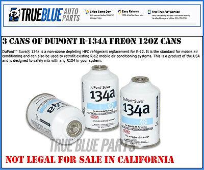 3 Cans R-134a DuPont Suva A/C Automotive Refrigerant/Freon R134a (12oz Cans)