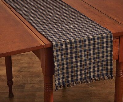 Primitive Country Navy Sturbridge Table Runner 13X54 Plaid Cotton Farmhouse  (Navy Table Runner)