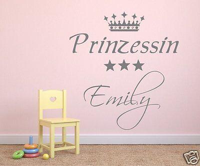 Wandtattoo Kinderzimmer Kind Mädchen Baby  Prinzessin mit Krone und NAME 73017 ()