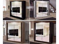 Orignal PICS.... New GERMAN MADE Large 180cm Wide WARDROBE + 2 Mirror Door + Shelves
