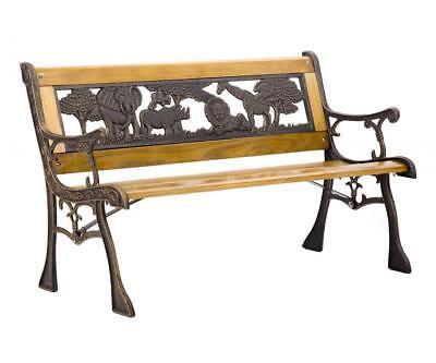 Patio Garden Bench Park Porch Chair Cast Iron Hardwood Furniture Animals 335