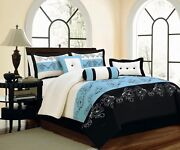 Queen Comforter Set Blue Black