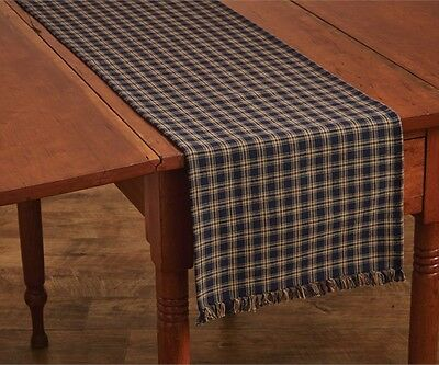 Primitive Country Navy Sturbridge Table Runner 13X36 Plaid Cotton Farmhouse