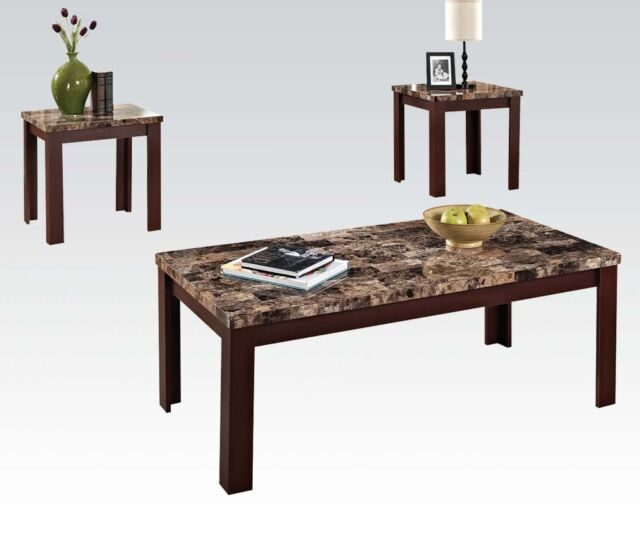 coffee table set end tables faux marble brown cherry living room