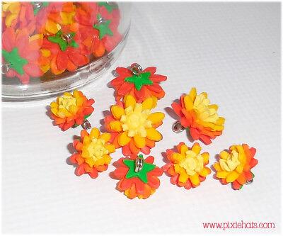 Orange Hawkbit charms wild flower beads pendants pagan hedgerow meadow jewellery ()