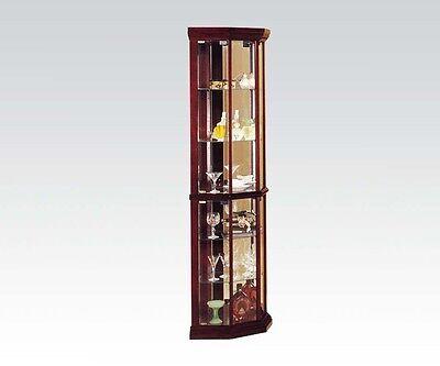Acme 02347 Martha Cherry Corner Curio Cabinet Glass Door