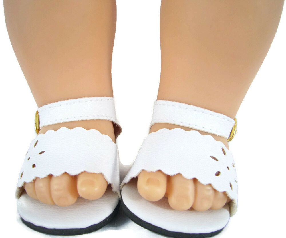White Scalloped Sandals Shoes made for Bitty Baby Doll Clothes HIGHEST QUALITY