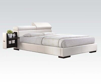 Eastern King Size Storage Modern Master Bedroom Furniture Bed w/ White PU 1pc Contemporary Leather Eastern King Bed