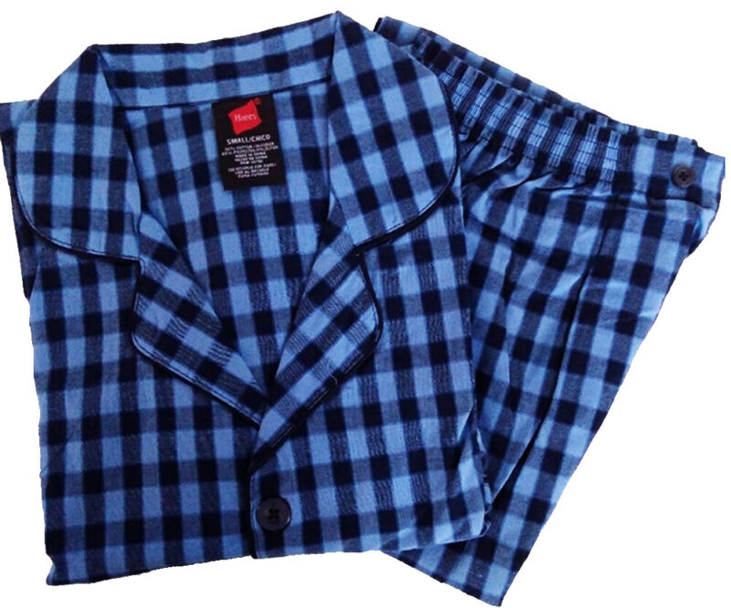 Hanes Mens Flannel Plaid Sleep Lounge Pajama Pant Set
