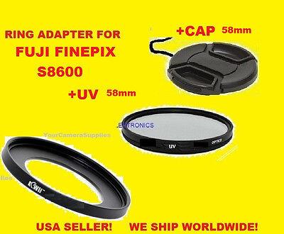 ADAPTER RING+UV FILTER+LENS CAP TO CAMERA FUJI FINEPIX S8600 S8630 S8650 58mm Camera Lens Adapter Ring