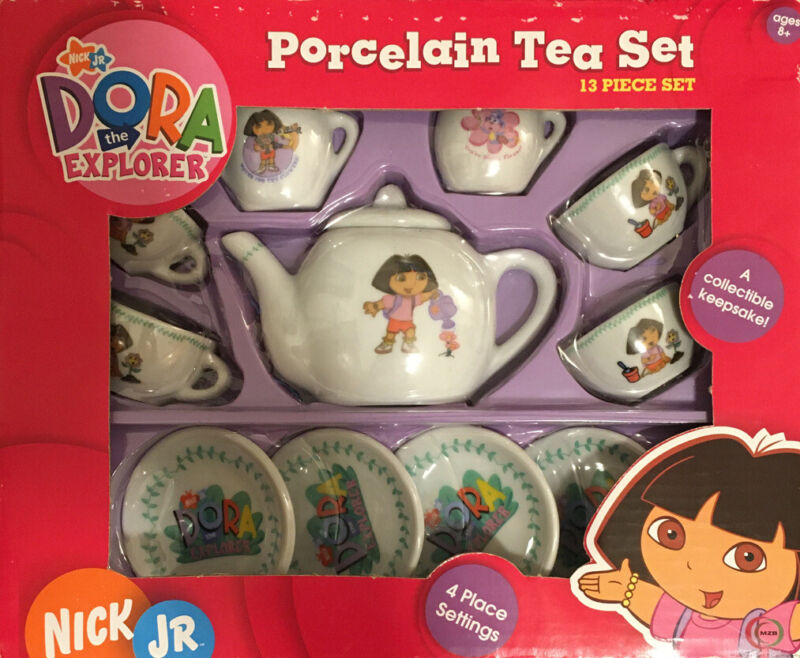 Dora the Explorer 13 Piece Porcelain Collectible Tea Set Boots Nick Jr. 2006 NEW