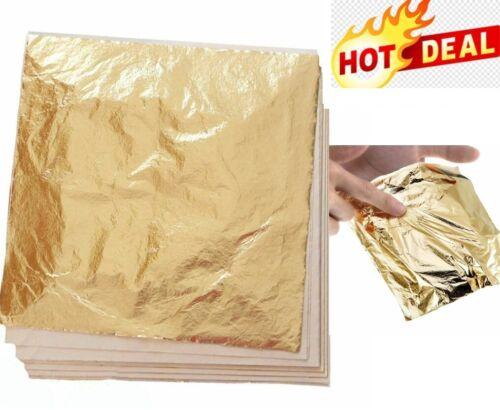 Gold Leaf 100 Sheets Genuine Art Gilding Crafting Kit Pure Leaves Decoration Lot
