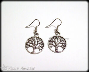 Tree of Life EARRINGS. Antique SILVER Tone. Dangle Charm Earrings. Vintage, Boho