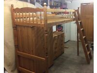NOW SOLD - Pine high sleeper bunk bed with matching wardrobe and chest of drawers