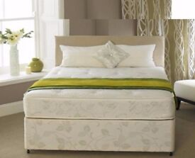 ORTHOPEDIC SET- BRAND NEW DOUBLE / KING DIVAN BED WITH WHITE ORTHOPEDIC MATTRESS- GET IT NOW