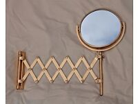 Gold extending bathroom mirror and towel ring